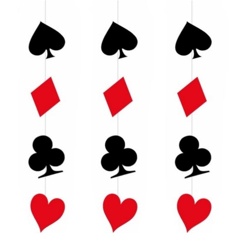 3x stuks hangdecoratie versiering casino speelkaarten 110 x 17 cm